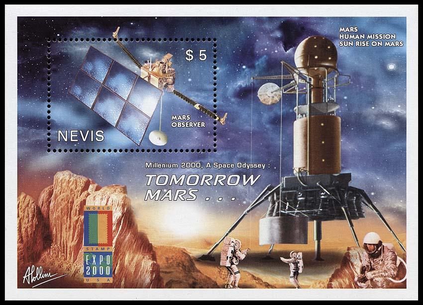 Astrophilatélie soviétique et pays de l'Est - Page 3 Nevis_2000_space_bl1