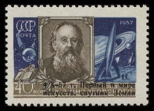 Astrophilatélie soviétique et pays de l'Est - Page 3 Ussr_1957_tciolkovsky_znadp