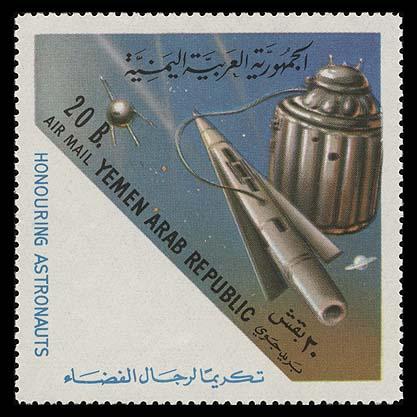 """Petit livre russe : """"L'homme dans l'espace"""" Yemen_ar_1963_astronauts_2000_"""